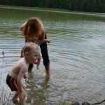 Kąpiel nad jeziorem Jelenie